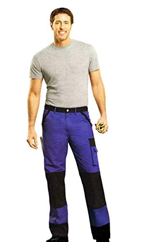 Powerfix Profi Herren Arbeitshose Bundhose Arbeitsbekleidung Blau Schwarz 7 Taschen 58