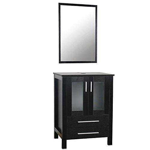 """24"""" Black Bathroom Vanity Top Modern With 2 Drawers Wood MDF 20-inch Deep, Bathroom Vanity Cabinet With Mirror"""