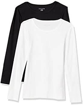 2-Pack Amazon Essentials Women's Slim-Fit Long-Sleeve T-Shirt
