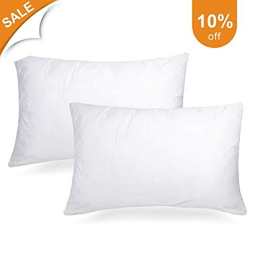 Adoric Pillows for Sleeping, Bed Pillows 2 Pack Standard Down Alternative Bed Pillows 100% Cotton