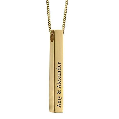 Stɑy Real Bar Halskette Personalisiert 4 Namen Anhänger mit Geburtssteinen Silber Personalisierte Geschenk für Damen Herren (Gold,40cm)