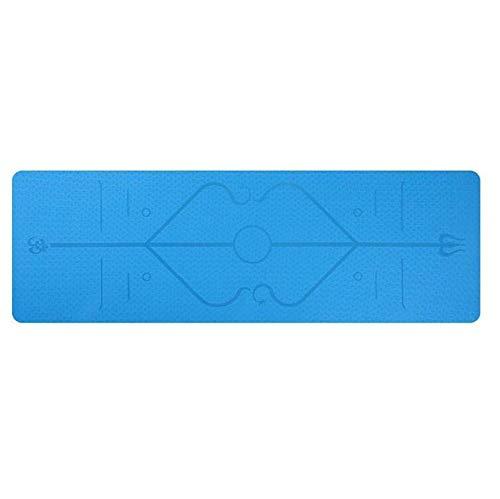 Esterilla antideslizante de ejercicio 1830 x 610 x 6 mm con línea de posición antideslizante alfombra para principiantes ambientales fitness gimnasia (color: azul)