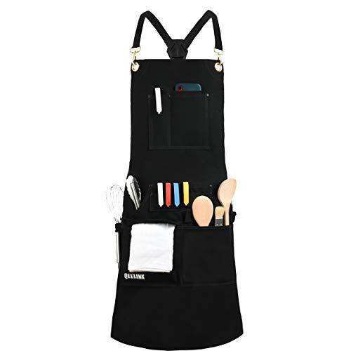 Grembiule da Cucina per Cuoco Professionale, BBQ e Griglia con 10 Tasche per Utensili - Grembiule in Tela Impermeabile con Fibbia a Rilascio Rapido, Regolabile da M a XXXL per Uomo & Donna, Nero