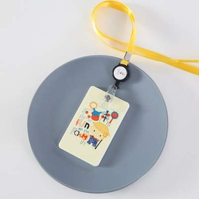 weichuang Funda de tarjeta con diseño de dibujos animados para tarjeta de identificación de estudiante, tarjeta de visita, tarjeta de visita, color beige.