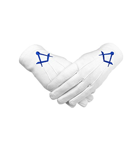 Masonic White Cotton Glove with Blue Machine Embroidery Square and Compass (Small)