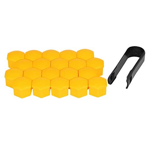 X AUTOHAUX 20Stk. 17mm Gelb Plastik Auto Radmutter Radnabe Abdeckung Staubkappen