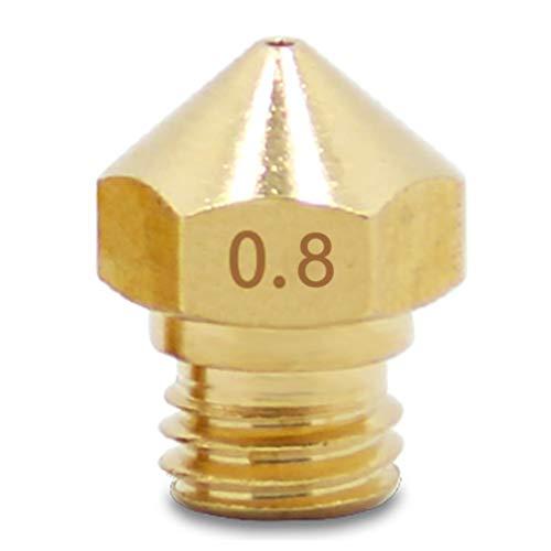 Zacha Extruder Düse MK10 langlebig, DIY Büro Präzise Wärmeleitende kleine Gewinde Heimdrucker Teile Messing (0.2), Wie abgebildet, 0.8