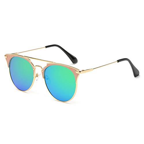 YIERJIU Gafas de Sol Gafas de Sol de Medio Borde de Moda Mujeres Sombras uv400 Nuevas Gafas Redondas Vintage Rosadas Transparentes para Hombres,C4