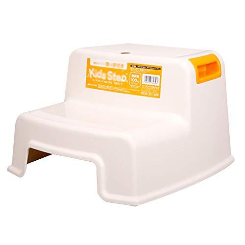 HYXQYTD stappenkruk met niet-kleine, kunststof plateau houdt tot 220 lb lichte trapladder voor volwassenen senioren kinderen te gebruiken thuis badkamer keuken (wit) ++