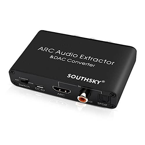 SOUTHSKY 192KHz DAC Wandler, Digital zu Analog L/R Cinch Adapter, HDMI ARC Audio Extraktor zu SPDIF,Koaxial,3,5mm,L / R, CEC Lautstärke Einstellbar