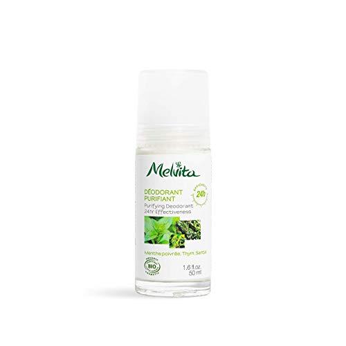 Melvita - Déodorant Efficacité 24 Heures - Formule douce sans aluminium - Aux 3 huiles essentielles et Vitamine E - Certifié Bio, Naturel à 99% - Fabriqué en France - Flacon 50ml