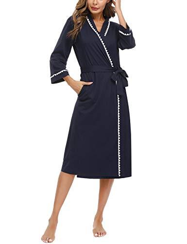 Abollria Morgenmantel Damen Schlafmantel Nachtwäsche Mid Length Robe Kimono Saunamantel mit Spitzenbesatz