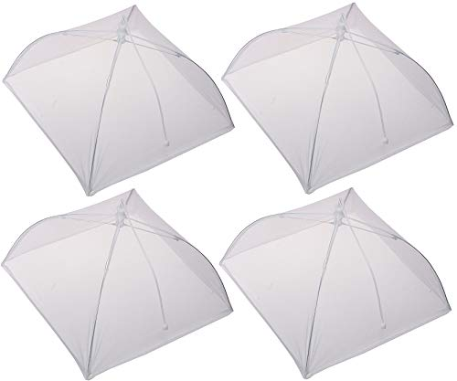 Picnic Fly Screens, Food Cover Set of 4 Large Reusable and Collapsible Pop-Up Mesh Screen Outdoor Picnic Food Net 17 inch Tent Umbrella Keep Out Flies Mosquitoes Bugs