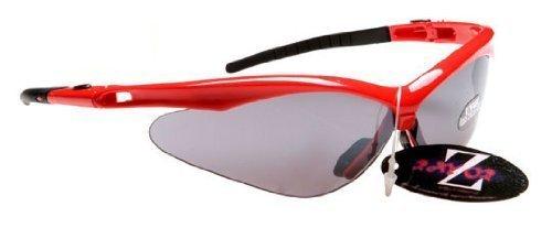 Rayzor Profesionales Ligeros UV400 Roja Deportes Wrap Ciclismo Gafas de Sol, con una antideslumbrante Lente Ahumado con Espejo.