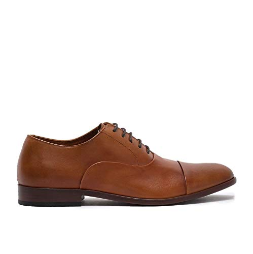Gordon Rush Men's Dress Shoe Hughes Folded Cap Toe Oxford, Breathable Calfskin Lining, Durable Non-Slip Rubber Sole, and a Stacked Heel for All-Day Comfort. (British Tan, 11)