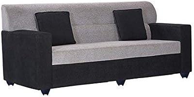 BBharat Lifestyle Prince Fabric 3 Seater Black Grey Sofa