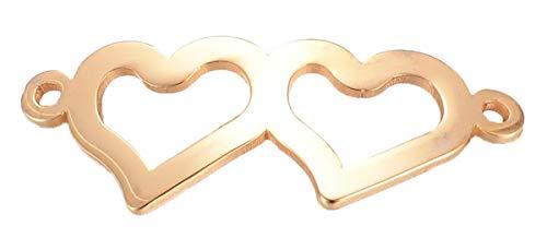 Sadingo, ciondolo a forma di cuore in acciaio inox (oro, 10 pezzi 31,5 x 12,5 mm), connettore per gioielli, pezzo intermedio, due occhielli