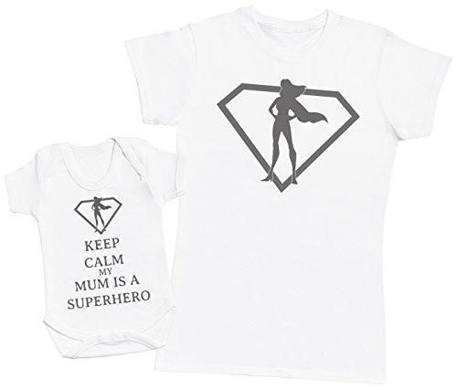 Keep Calm My Mum is A Superhero - Ensemble Mère Bébé Cadeau - Femme T Shirt & bébé Bodys - Blanc - Medium & 3-6 Mois