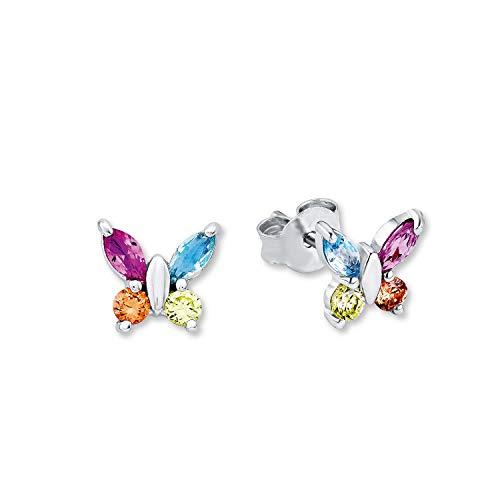 amor Ohrstecker für Mädchen Schmetterling 925 Sterling Silber Zirkonia bunt mehrfarbig