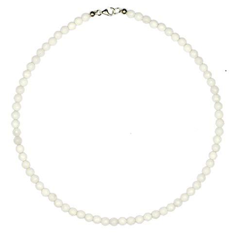 Jade Schmuck (Halskette) Jade Kette weiße Jade Kugeln facettiert Größe ca. 6 mm Verschluss 925er Sterling-Silber Modellnummer 4418
