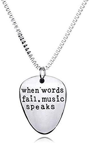 BEISUOSIBYW Co.,Ltd Collar de Moda Cuando Las Palabras fallan, la música Habla, púa de Guitarra, Colgante, Collar, Letras Unisex, Colgante, Collar, Entusiasta de la música, Parejas, Collares