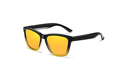 Gafas de Sol Hombre Mujer Polarizadas Protección UV400 con Funda Gafas,Moda Retro Gafas de Sol Restaura Verdaderos Colores para Conducir Aviador Deportivas Ciclismo-Degradado Amarillo/Amarillo