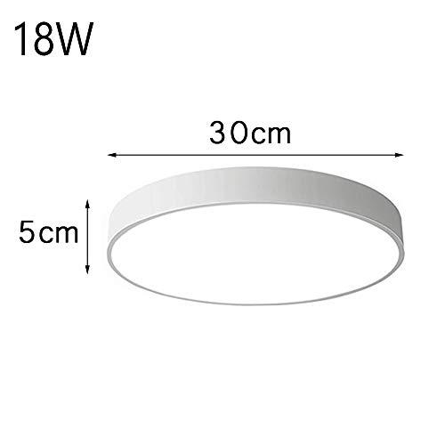 Ultra dünn Deckenleuchte Deckenlampe rund voll dimmbar oder warmweiß 3000k 18W-36W (weiß/schwarz/pink) (18W-Warmweiss-Weiß-2)