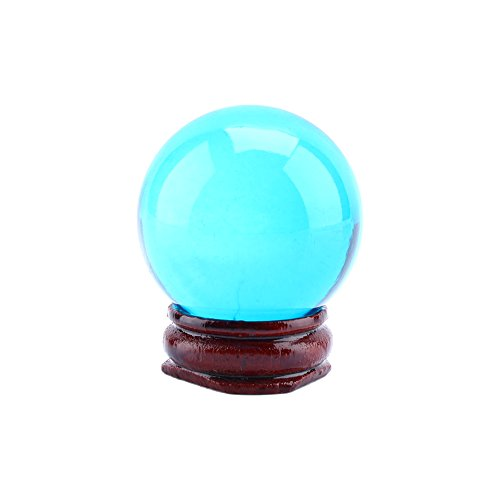 Bola de cristal transparente de 40 mm/1.6' Asia rara natural cuarzo claro esfera de bola de cristal mágico con base de soporte, azul