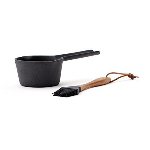 noTrash2003 Marinier-Set für Saucen, Marinaden und Kuchenglasur, inkl. Silikon Bürste mit Holzgriff und gusseisernem Topf