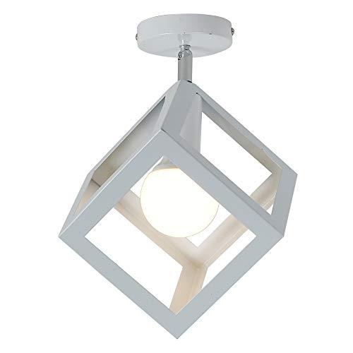 Osairous Plafoniere moderne, Plafoniera quadrata in metallo, Lampade ad incasso per Camera da letto Soggiorno Cucina Ristorante E27 (Bianco)