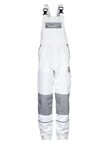 TMG Komfortable Herren Latzhose | Männer Arbeitslatzhose mit Reflektoren und Taschen für Kniepolster | Maler, Anstreicher, Tapezierer | Weiß 52