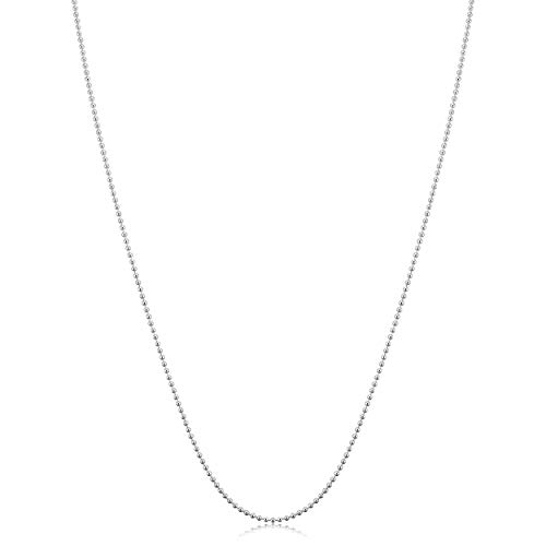 Kooljewelry Sterling Silver Polished Ball Chain Necklace (1 mm, 30 inch)