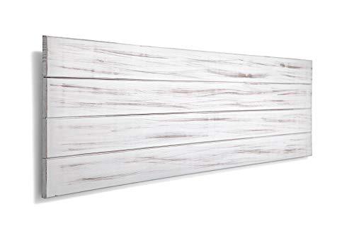 SUENOSZZZ-ESPECIALISTAS DEL DESCANSO Cabecero de Cama de Madera TREVINCA Color Blanco Vintage para Pared. Cabecero de Tablas Horizontales. Estilo Vintage, para Camas de 150