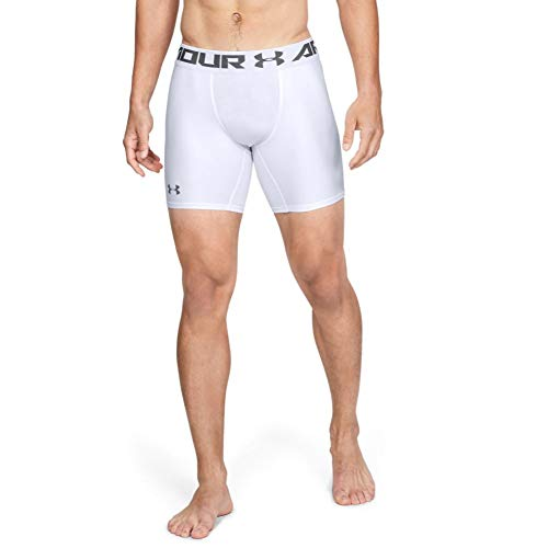 Under Armour Men's HeatGear Armour 2.0 6-inch Compression Shorts, White (100)/Graphite, Large