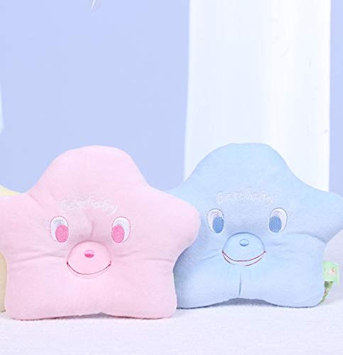 Newborn Baby Pillow Head Protector 100% Organic Cotton - 20X20cm Safe Sleep Concave Shape (Blue and Pink)
