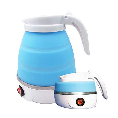 Gobesty Hervidor de agua plegable, de silicona, con base de acero inoxidable, 0,6 litros, ideal para camping o viajes en moto (azul claro)