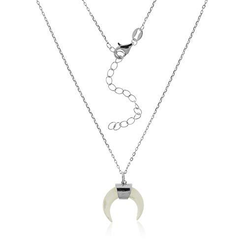VITAL ARGENT Collar Luna Invertida Plata, Luna Creciente, Gargantilla Cuerno, Collar Boho, Gargantilla Plata de Ley, Luna Creciente, Collar Mujer