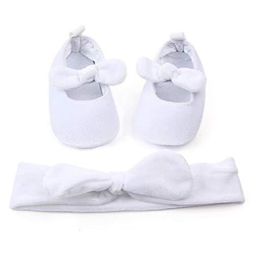 YABINA (TM) Baby Infant Girls Soft Sole Floral Princess Mary Jane Shoes Prewalker Wedding Dress Shoes (White, 13-18 Months)