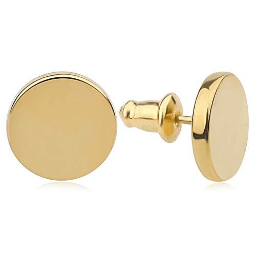 Good.Designs Damen Ohrstecker (Edelstahl) Ohrringe mit flachem Plättchen (Gold) goldschmuck goldene goldfarben golden vergoldet