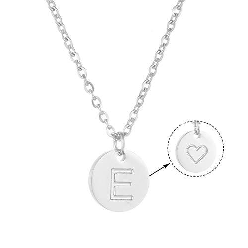 AFSTALR Damen Initialen Kette mit E Buchstaben Anhänger Silber Namenskette mit Herzen Geburtstagsgeschenk für Mädchen