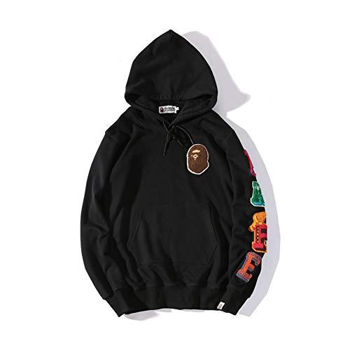 GEOOG Unisex Bape Ape Hai Camo Hoodie Mode Casual Teenage Erwachsenen Hip Hop Sweater Full Zipper Jacke,Schwarz,M