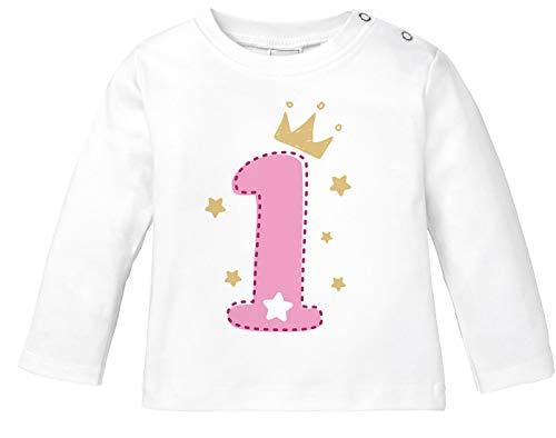 MoonWorks® Baby Langarm-Shirt 1. Geburtstag Zahl 1 BZW. 2 mit Krone Sternen Geburtstagsshirt Bio-Baumwolle 1 weiß-rosa 80/86 (10-15 Monate)