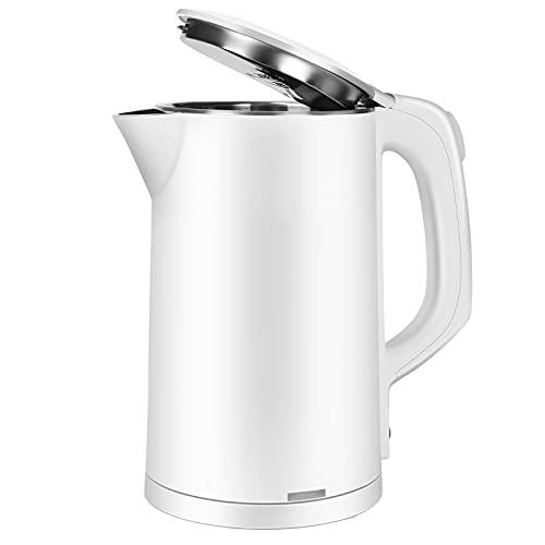 Hervidor de agua eléctrico de acero inoxidable, 2,5 L, sin BPA, doble pared, para café y té, función de mantenimiento del calor y apagado automático, calentamiento rápido (blanco)