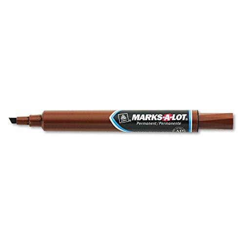 Marks-A-Lot - Rotulador permanente de escritorio grande, punta biselada, marrón, docena