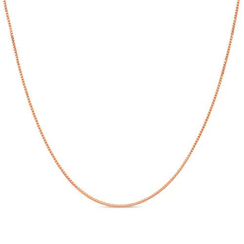Kezef Collana   Catenina Veneziana di 1 mm – Argento 925 Sterling Placcato Oro Rosa – Misure da 35,6 cm a 1 m
