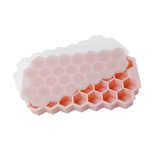 Panal de hielo Bandeja de hielo Moldes de hielo de silicona Bandeja de hielo de 37 rejillas con tapa Para cóctel de whisky Bebidas Zumo de agua Bar casero Moldes para hacer hielo