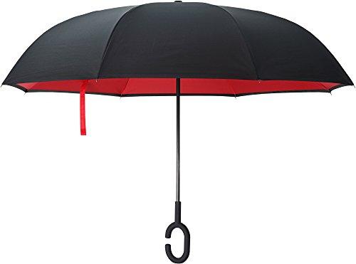 Omgekeerde paraplu door ijzeren kast, auto omgekeerde open paraplu voor zonnige parasol en regenachtige Bumbershoot, dubbele laag winddichte bescherming en creatieve Flat Zelfstaand, met C-vormige handen gratis handvat