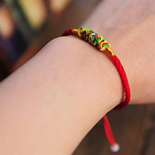 Shability Unisex Fortune-bringing Colored Valentine Knots Lovers Bracelet In Red Silk String Lucky Ethnic Jewelry yangain