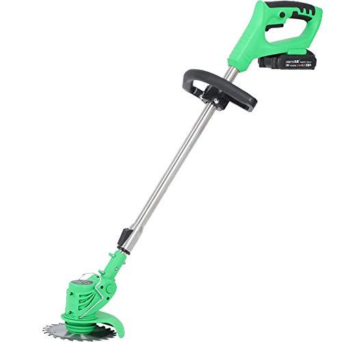MOCOHANA 21V Cordless Grass Trimmer with Steel Blades Mini Mower Weed Wacker Battery & Charger Included