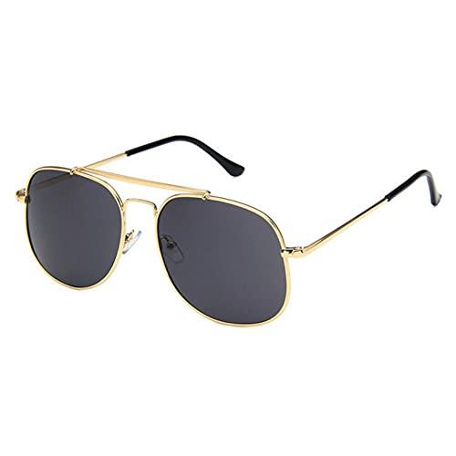DovSnnx Unisex Polarizadas Gafas De Sol 100% Protección UV400 Sunglasses para Hombre Y Mujer Gafas De Aviador Gafas De Ciclismo Ultraligero Lente Gris Marco Dorado